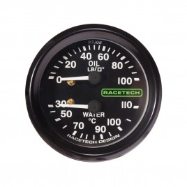 RACETECH 52MM OIL PRESS/WATER TEMP GAUGE