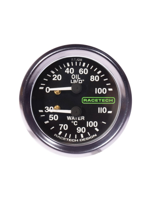 RACETECH 52MM CLASSIC OIL PRESS/WATER TEMP GAUGE